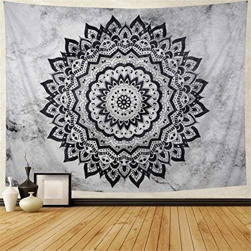 Leofanger Mandala Tapestry Black and White Mandala Tapestry Psychedelic Bohemian Tapestry Hippie Mandala Tapestry Wall Hanging for Bedroom Living Room XLarge-92.5 x70.8 , Black Mandala