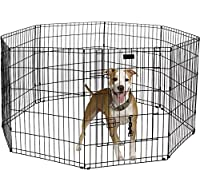Ultimate Folding Dog Animal Pet Playpen Wire Metal 8 Panel Octagon Black Wire Enclosure Fence Exercise Popup Kennel Crate Tent Portable Gate Cage