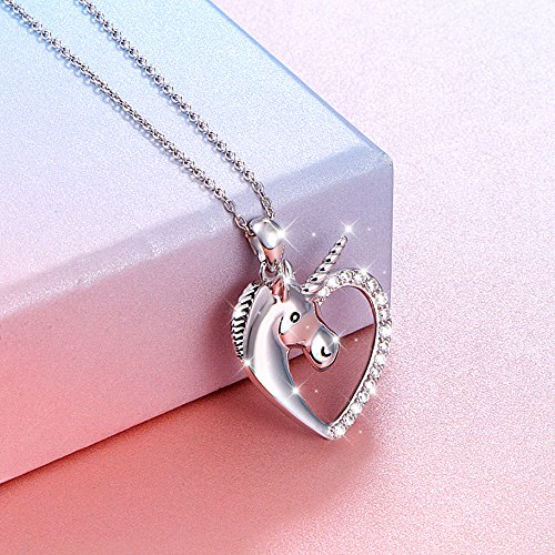 Sterling Silver Forever Love Unicorn in Heart Pendant Necklace for Women Girl, Rolo Chain 18'' by Silver Light Jewelry (Image #2)