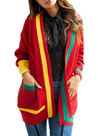 71b7639d8e Image Unavailable. Image not available for. Color: GH Women's Color Block  Thermal Sweaters Knitted Jacket ...