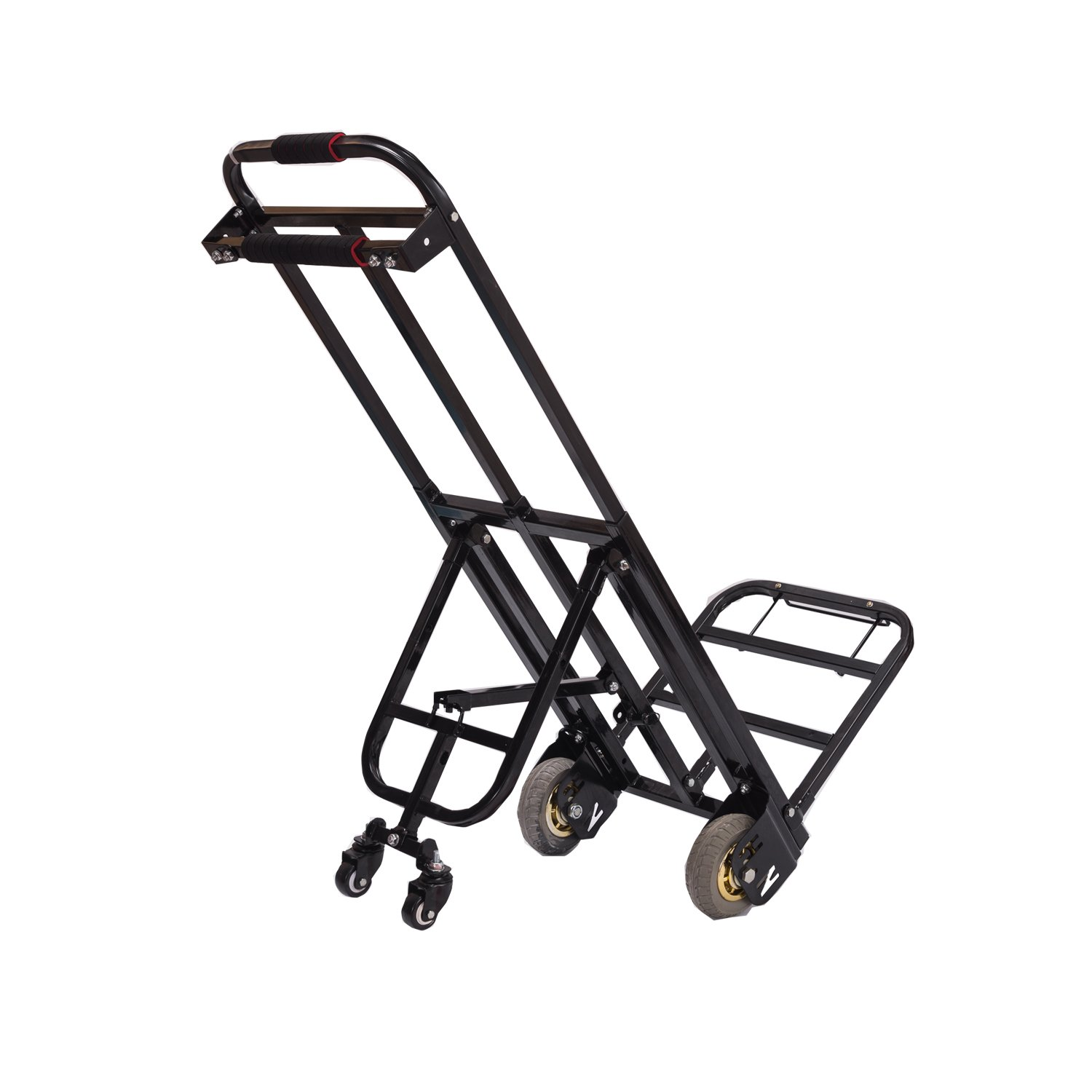 Mecete Hand Truck Dolly 460lb Largest Capacity All Terrain Hand Truck Heavy Duty with 2 Solid Rubber wheels and Universal wheels Baking Varnish Surface Shining