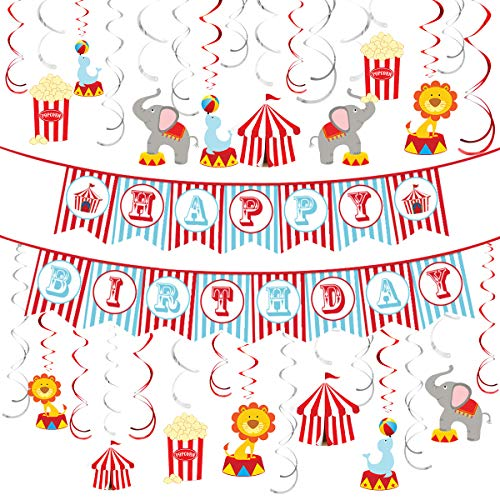Circus Animals Party Supplies Carnival Hanging Swirl Ceiling