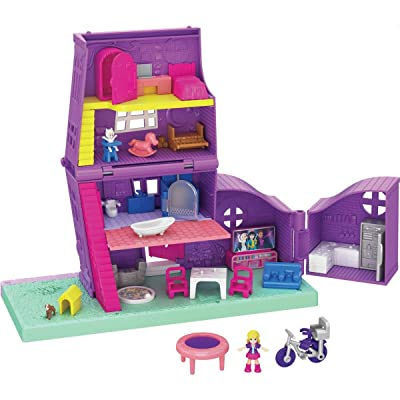 Polly Pocket Pocket House: 4 Stories, 11 Accessories & Micro Dolls, for Ages 4 and Up: Toys & Games