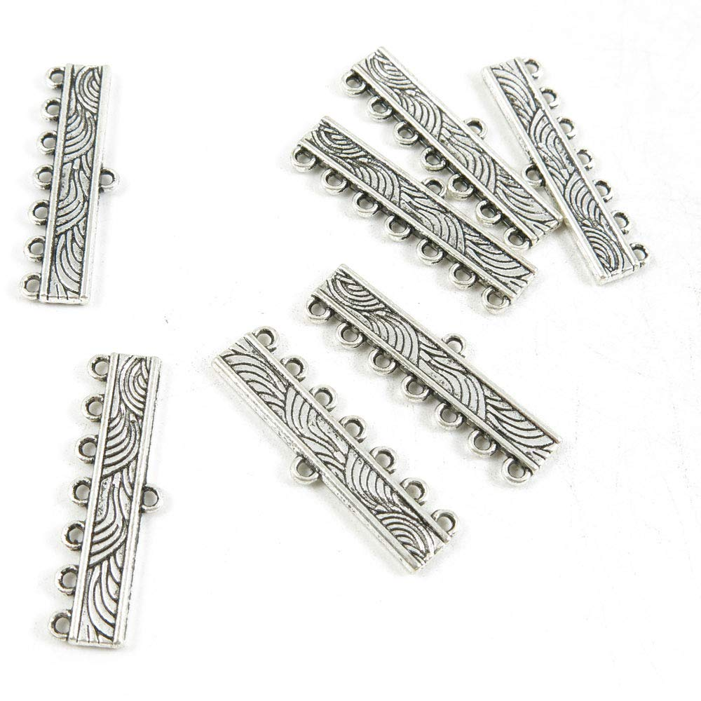 900 Pieces Antique Silver Tone Jewelry Making Charms Crafting Beading Craft F0WX8 7 Strand Connector Separator End Bars
