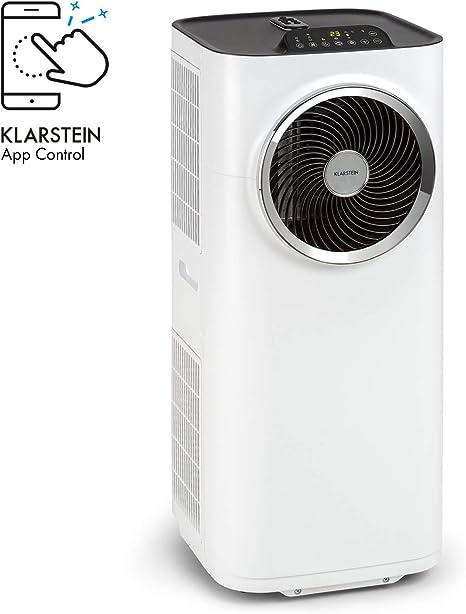 Klarstein Kraftwerk Smart - Aire acondicionado 3 en 1, Enfriamiento, Deshumidificación, Ventilación, Clase A, 10.000 BTU / 2,9 kW, WiFi, Control por App, Para salas de 29 a 49 m², Blanco: Amazon.es: Grandes electrodomésticos