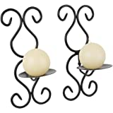 Set of Two Black Iron 24.5cm High Wall Sconce For your Home, Spa or As A Gift