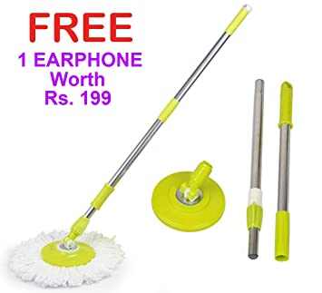 Veenoshka Mop Rod Stick Stainless Steel with Plate and Microfiber Mop Stick & 1 Mop Head Mop 360� Rotate S.S Rod Pocha (with 1 Super Bass Earphone)