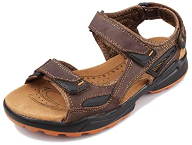 b31282880 Fangsto Men s Leather Athletic Outdoor Walking   Hiking Sandals US Size 6.5  Brown