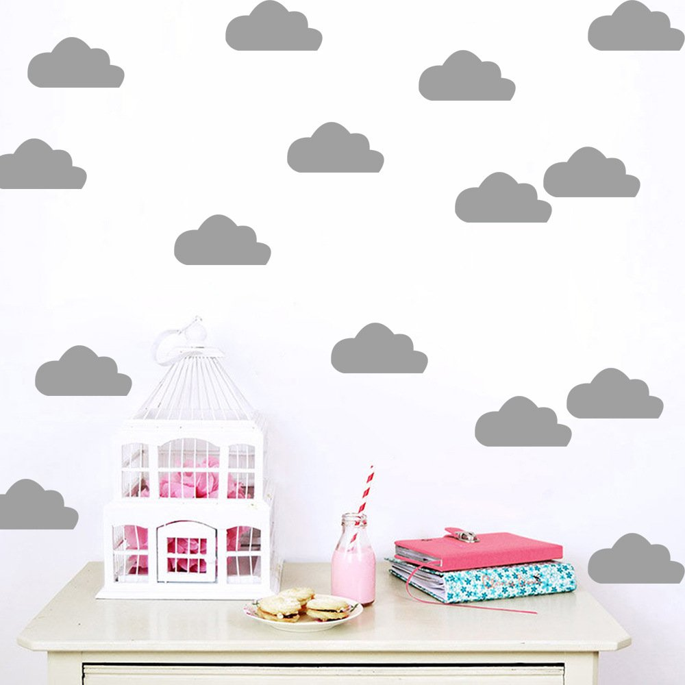 Amazon com chezmax 1 pc clouds wall stickers peel and stick removable wall decals vinyl wall mural paper for kids room gray 8 3 x 11 5 10 decals home