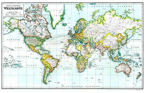 Historische Karte Neue Grosse Weltkarte 1940 Gerollt Die