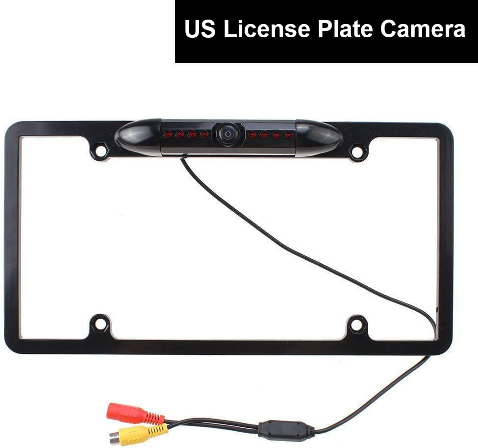 Black Color E-KYLIN Car Auto US License Plate Frame Parking Camera 170 Degree Backup Rear View Cam Universal Fit Durable Metal 8 IR Lights Night Vision HD Waterproof Easy Installation