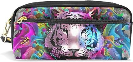 Estuche para lápices Tiger, estuche con cremallera para niñas, bolsa de maquillaje grande organizador con compartimentos: Amazon.es: Oficina y papelería
