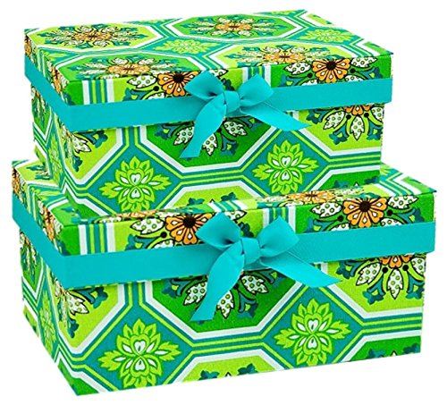 Decorative Fabric Storage Boxes Closet Shelf Craft Organizer Solutions - Set of 2 (Ginger Tile)