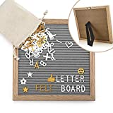 Felt Letter Board, 10x10 inch Oak Wood 454 Characters White & Golden Letters Numbers Symbols Emoji Massage Board with Canvas Bag for Home Office Anniversary Gifts Kids DIY