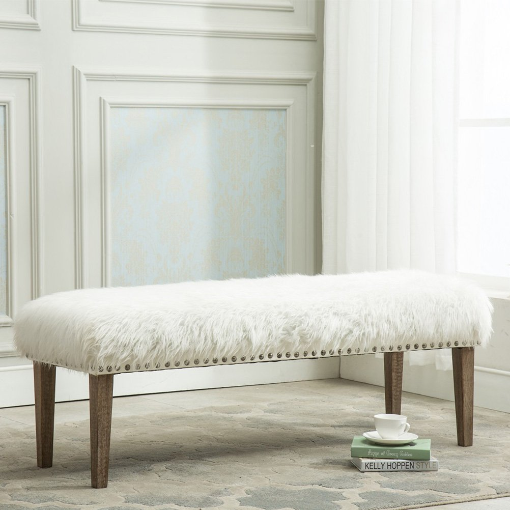 Yongchuang Pure White Glamorous Soft Faux Fur Modern Style Decorative Bench Footrest Ottoman Nailed Wood Legs by Yongchuang
