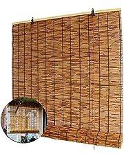 MKIJ Rolety bambusowe w stylu retro, z naturalnych trzcinowych żaluzji, oddychające rolety rzymskie z podnośnikami, do ogrodu / tarasu / zacieniania okien, możliwość personalizacji