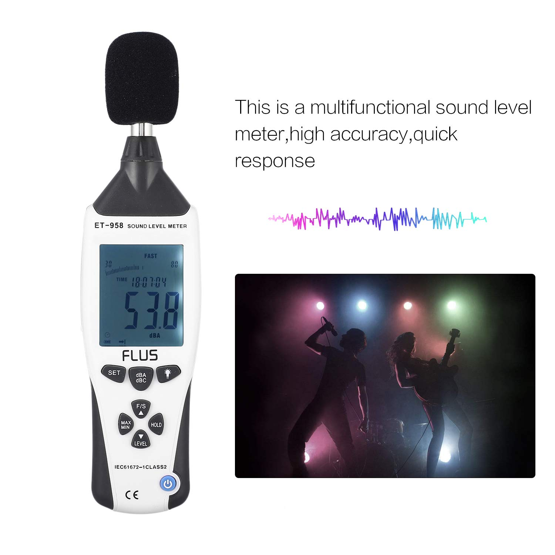 FLUS ET-958 Digital Sound Level Meter Noise Tester Decibel Logger Measurement Audio Detector Volume Monitor 30-130dB Handheld - - Amazon.com