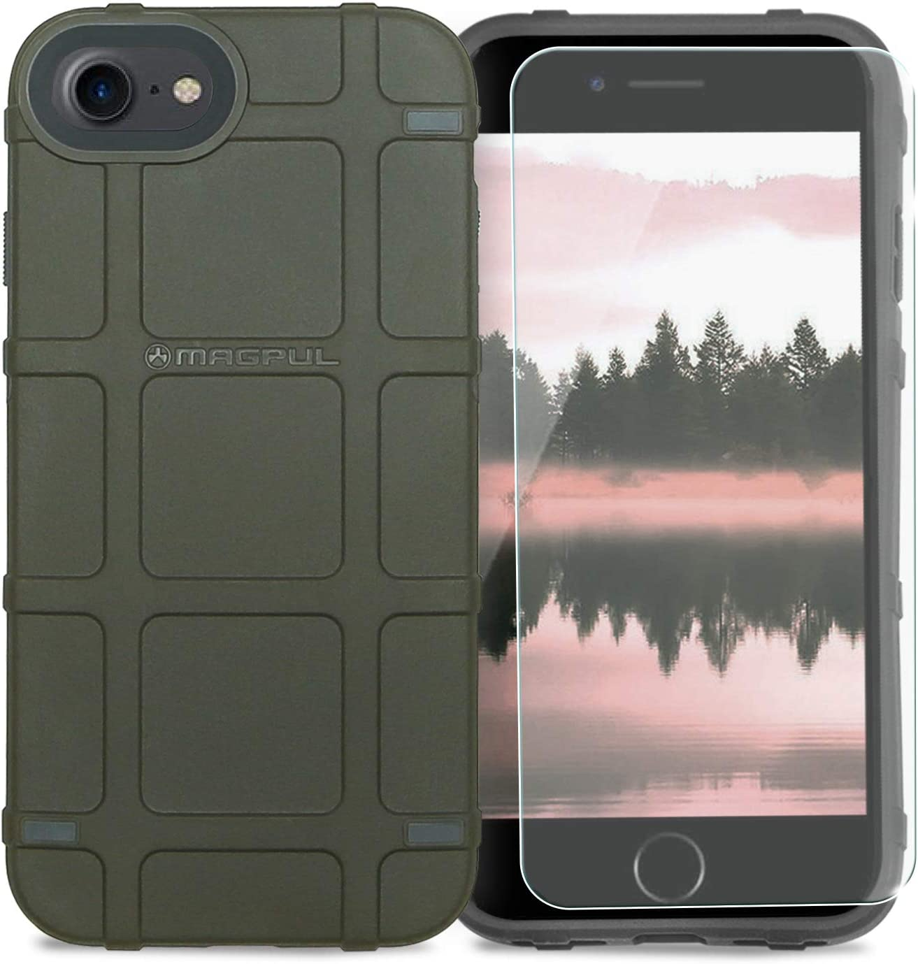 """Phone Case Compatible with Apple iPhone 7/iPhone 8/iPhone SE 2nd Gen (iPhone SE 2020) 4.7"""" inch [TJS Tempered Glass Screen Protector] Magpul Industries Bump MAG989-ODG Polymer (Olive Drab Green)"""
