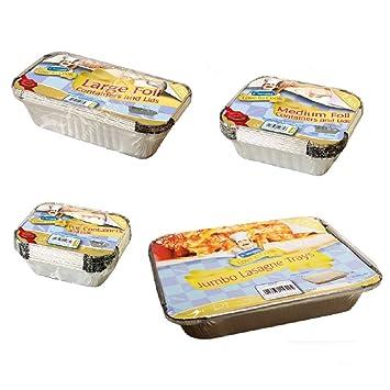 Pequeño, tamaño mediano, grande y Jumbo alimentos varios tamaños – Cocina bandejas de aluminio