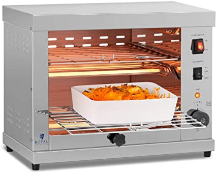 Royal Catering RCET-360 Horno Tostador Hornillo eléctrico Salamandra Cocina (3.250 W, 230 V, 50-300°C, Temporizador 15 min, acero inoxidable)