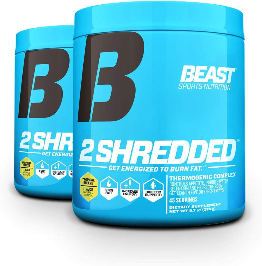 Beast Sports Nutrition 2 Shredded Thermogenic Powder, Metabolism Booster, and Appetite Suppressant Best Fat Burner for Weight Loss and Reduced Water Retention, 45 Servings, 2 Pack Tropical Breeze