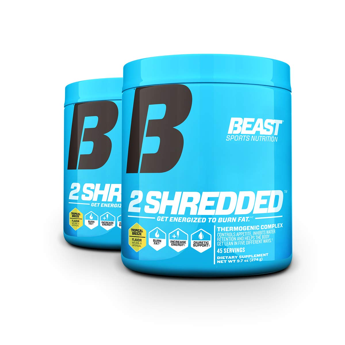 Beast Sports Nutrition 2 Shredded: Thermogenic Powder, Metabolism Booster, and Appetite Suppressant | Best Fat Burner for Weight Loss and Reduced Water Retention, 45 Servings, 2 Pack (Tropical Breeze)