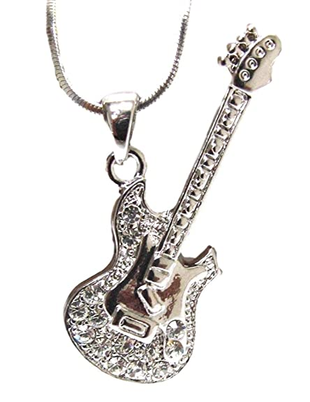 Amazon Com Crystal Electric Guitar Necklace Charm Luxury Plating
