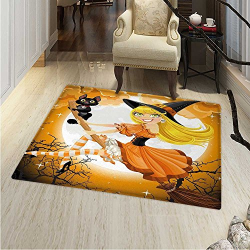 Halloween Dining Room Home Bedroom Carpet Floor Mat Cute Sexy Witch on a Broom with Baby Kitten and Hazy Moonlight Halloween Themed Non Slip rug 55