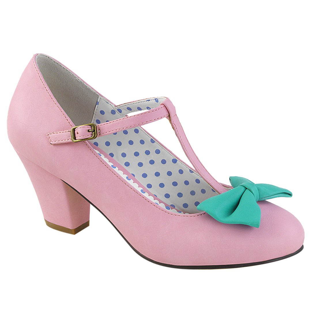Pin Up Couture WIGGLE-50 38 EU|Pink-teal Faux Leather