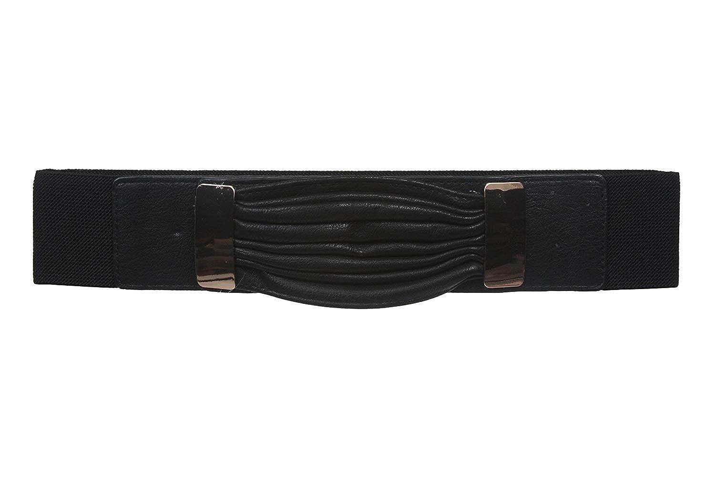 MONIQUE Women Black High Waist Elastic Fashion Stretchy Stylish 61mm Wide Belt