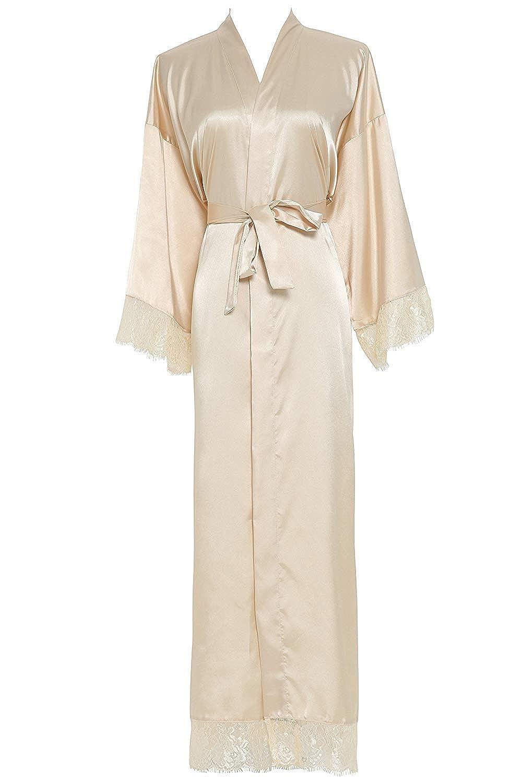 Champagne Michealboy Women's Bathrobe Long Lace Trim Robe for Wedding Bride Bridesmaid