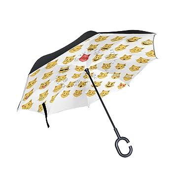jstel doble capa puede Juego de gato emoticon Emoji paraguas coches Reverse resistente al viento lluvia