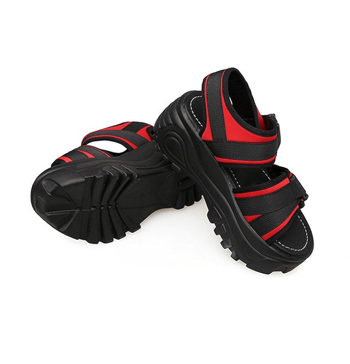 Damen Sandalen Klettverschluss Plateau Dicke Sohle Römische Stil Freizeit  Sommer Schuhe Rot 39 EU  Amazon.de  Schuhe   Handtaschen dac965cfa8