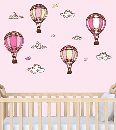 Baby girl wall decals hot air balloons for nursery pink balloons