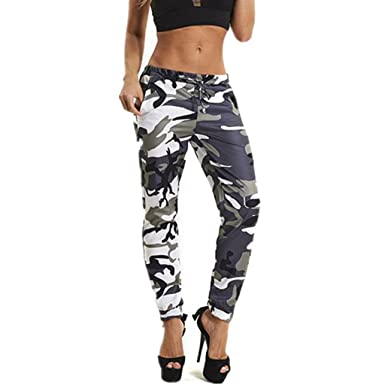e980853412bc9 Clearance! Toamen Women's Fashion Casual Pants, Women Girls Camouflage  Printed Sports Camo Cargo Pants, Outdoor Loose Trousers Jeans, Fitness Yoga  Sport ...