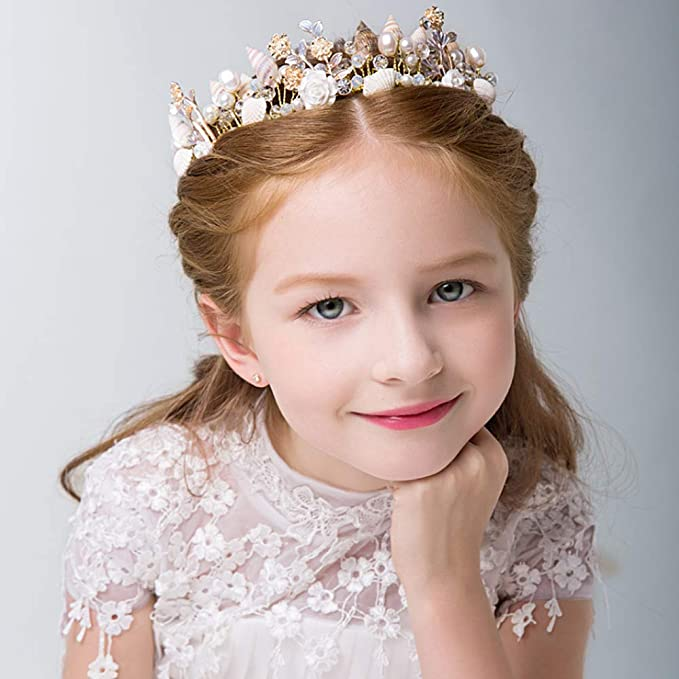2pcs Baroque Mini Flower Girls Rhinestone Crown Tiara Headwear Gold