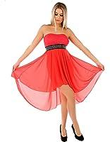 Few24 Chiffon Bandeau Cocktailkleid mit Spitze Kleid Sexy Kleid Partykleid Asymmetrisch Minikleid Abendkleid 12121