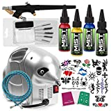 Temporary Tattoo Airbrush Kit - 4 Ink Color Set With Compressor and Stencils