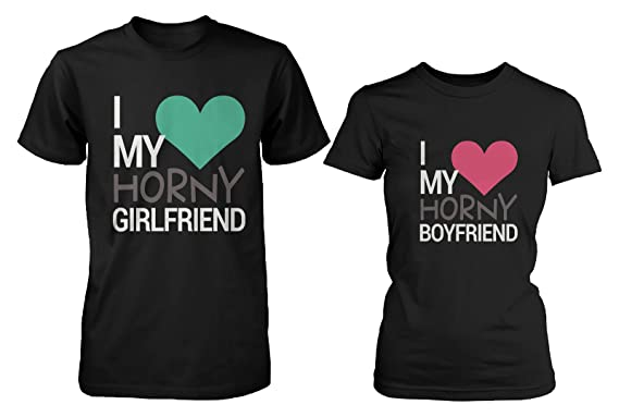 Amazon.com: Funny Matching T-Shirts for Couples - I Love My Horny ...
