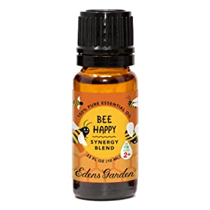 "Edens Garden Bee Happy""OK For Kids"" Essential Oil Synergy Blend, 100% Pure Therapeutic Grade (Child Safe 2+, Energy & Stress), 10 ml"