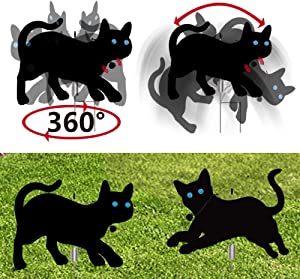 (Set of 2) Dynamic Garden Scare Cats Yard Sign with Reflective Eyes and Cat Bell, 360 Rotation and with Sound Garden Scare Cats to Keep Away Birds, Garden Scare Cats Yard Lawn Signs Decorations