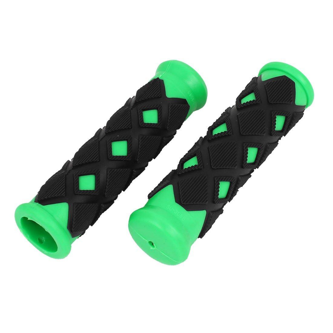 Losanga disegno di gomma antiscivolo manubrio della bici Grip 2 pezzi nero verde