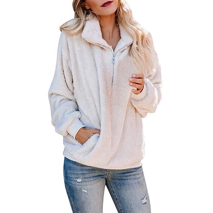 JiaMeng Sudadera con Cremallera de suéter con Cremallera de Invierno cálido y Suave para Mujer Manga