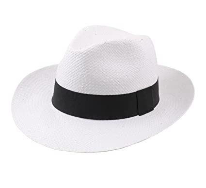 Classic Italy - Fedora Hat men Classic Paille Large - Size 55 cm - blanc 372dacafbbbe