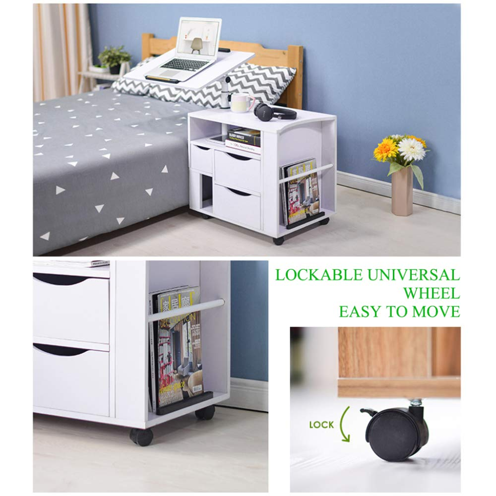 LIULIFE Mobile Computer Desk with Multi-Tier Storage Bedside Table Home Sofa Writing Desk, Two-Way Pull-Out Drawers,Black by LIULIFE (Image #6)
