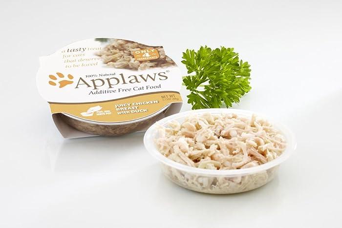 Applaws Cat Pots Juicy Chicken Breast with Duck Peel Top Cat Food (18) 2.12oz Trays