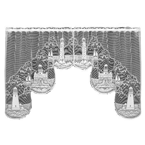 Heritage Lace Lighthouse 72-Inch Wide by 32-Inch Drop Swag Pair, - Lighthouse Valance Lace