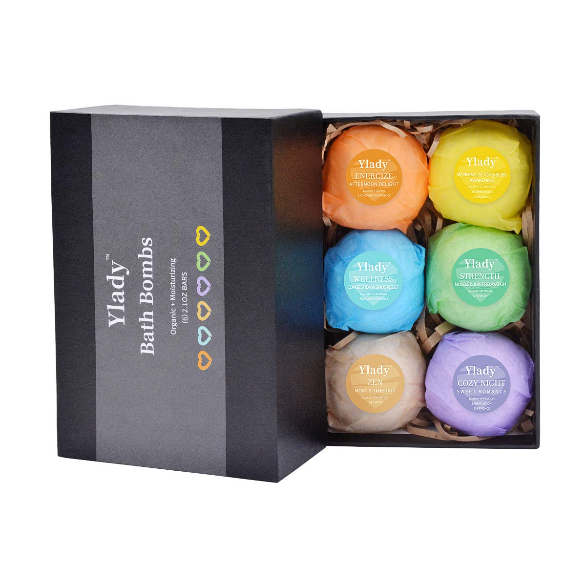 Pack Of 6 YLady Bath Bombs Gift Set Organic Natural Large Vanilla Lavender Mint Lemon Eucalyptus Honeysuckle Gift for Men, Women and Kids; Best Relaxing Epsom Salt Luxury Spa Soak, Gifts For Women and