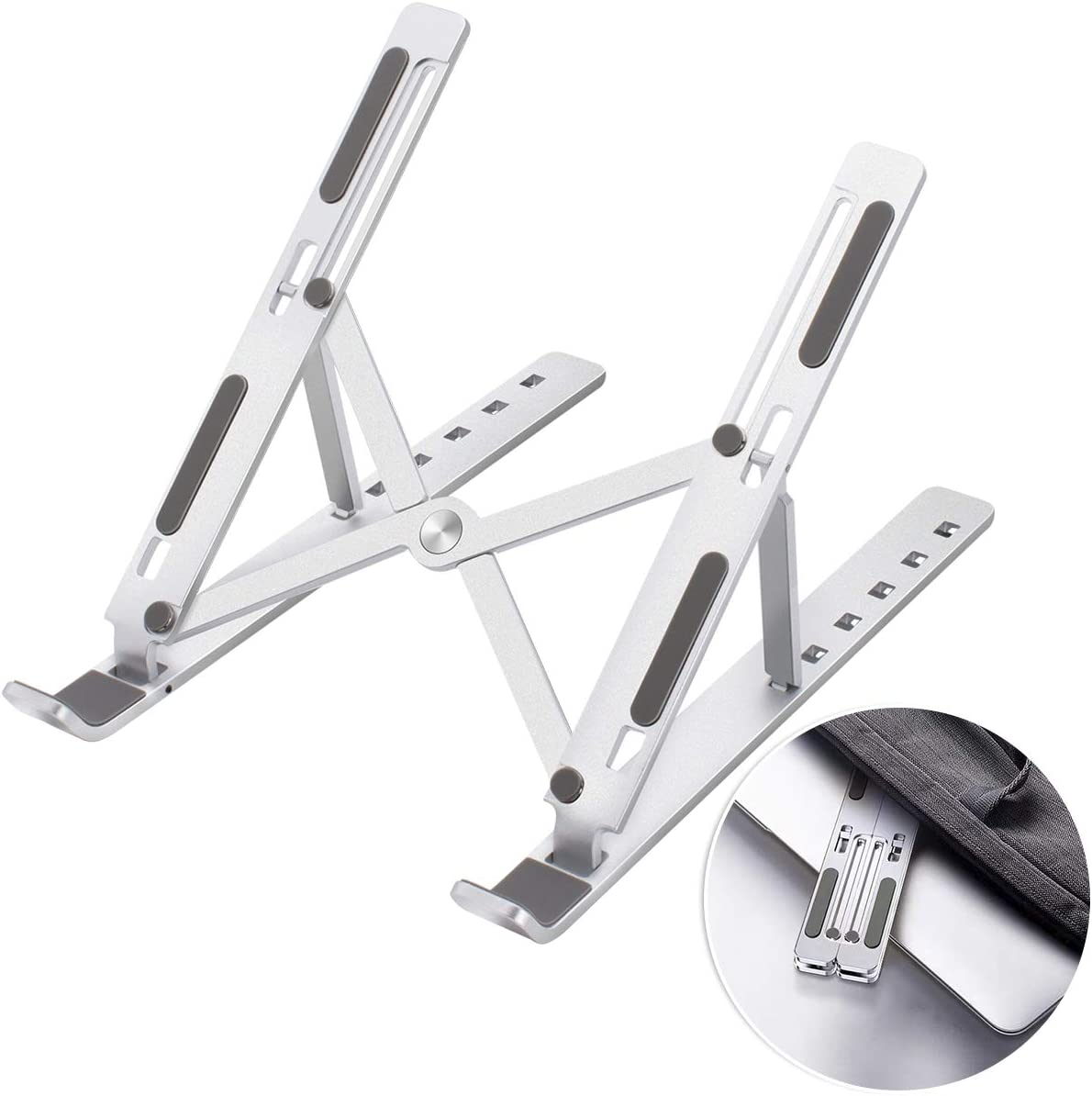 """Foldable Laptop Stand Portable, Adjustable Ergonomic Aluminum Laptop Desk Stand, Non-Slip Computer Holder, Laptop Riser Compatible with MacBook Pro/Air and More Notebooks in 10""""-15.6"""" - Silver"""