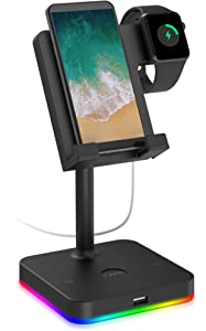 Cell Phone Stand for Desk with USB Port, Apple Watch Charger Stand 2 in 1 KAFRI Desktop Holder Dock Compatible with iWatch Series 6/5/4/3/2/1, iPhone 12 pro/X/X Max/8, iPad Mini, Tablet, All Phones